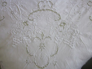 Fabulous Antique Whitework Embroidered Linen And Lace Bedspread Or Tablecloth