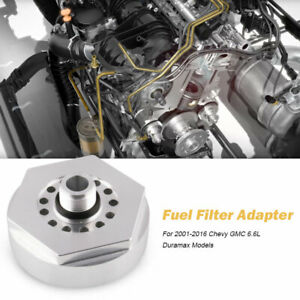 Cat Fuel Filter Adapter For 2001 2016 Chevy gmc Duramax Diesel Red Aluminum