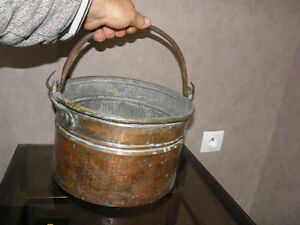 Antique Copper Cooking Pot Large Cauldron Hand Forged French Art Old Pan