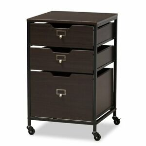 Baxton Studio Felix Wood And Black Metal 3 drawer Mobile File Cabinet