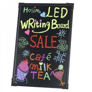 Led Illuminated Erasable Neon Menu Sign Message Writing Board With Stand