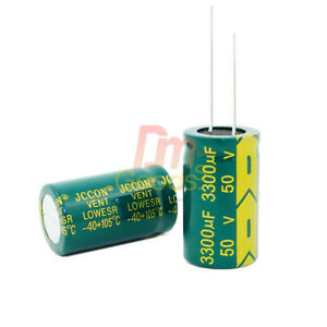 Lot Pcs 50v High Frequency Low Esr Radial Electrolytic Capacitor 3300uf 105c