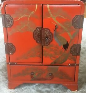 Vintage Japanese Hand Painted Lacquer Jewelry Chest Box Vg
