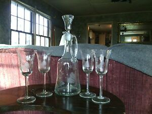 Antique Victorian Crystal Glass 13 Decanter Bottle Carafe Cruet Jar