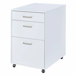 Acme Coleen Mobile File Cabinet In Glossy White