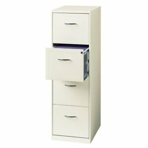 Space Solutions 18 Deep 4 Drawer Metal File Cabinet Pearl White