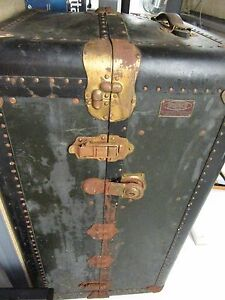 Vintage Indestructo Victorian Domed Wardrobe Steamer Trunk