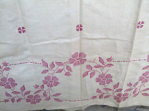 Vintage Linen Tablecloth Pink Embroidered Flowers Needlepoint 68 X49 Usa
