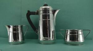 Vintage Sterling Silver Coffee Service Original Art Deco W J Myatt