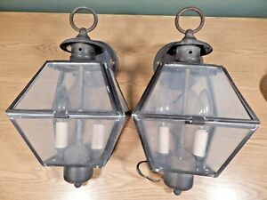Vintage Pair Of Porch Lights Sconces Brass And Glass Coach Lights