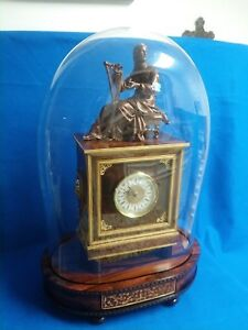 Rosewood Clock With Dome With Spelter Statue