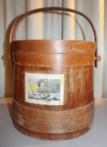 Large Natural Firkin Sugar Bucket Original Wooden Handle Aafa 10 Primative