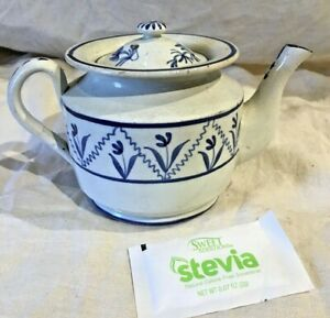 Early 19th Century Pearlware Single Cup Teapot With Blue Decoration