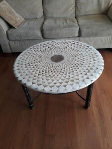 Vintage Maitland Smith Hand Made Egg Shell Round Cocktail Coffee Table