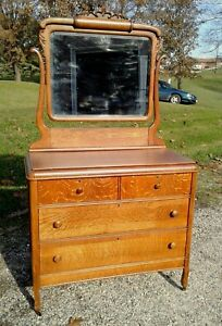 Tiger Oak Dresser With Swivel Beveled Mirror Applied Carvings Antique