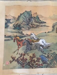 Antique Original Chinese Signed Watercolor Painting Hand Scroll Horses Large 65