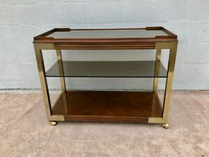 Mid Century Modern Drexel Heritage Brass Wood Glass 2 Tier Bar Cart