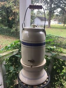 Vintage Crock Water Tea Dispenser Blue Stripe Marshal Nettlebed Texas Pottery