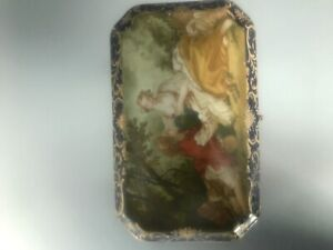 Antique 1759 Large Porcelain Sevres Cobalt Blue Jewelry Casket Box W Portrait