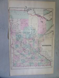 Antique 1874 Map Of Minnesota