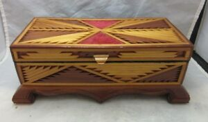 Vintage Hand Made Wood Mosaic Jewelry Box