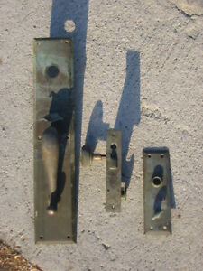 Ant Vtg Bl Brass Mortise Lock Exterior Deadbolt Complete Set