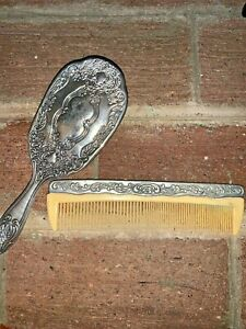 Boudoir Vintage Antique Sterling Silver Hair Brush Comb Combo Set Lot Of 2 8