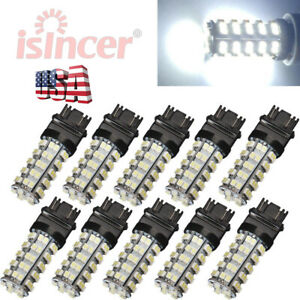 10pcs 6000k 3157 68 Smd Led Tail Brake Stop Light Bulbs T25 3057 3457 4157 White