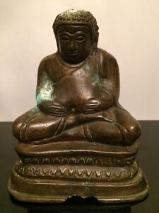 Amazing Antique 18th C Ming Dynasty Chinese Bronze Figure Statue Of Buddha