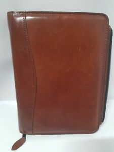 Vintage Scully Leather 3 Ring Binder Folder Day Planner Business Card Organizer