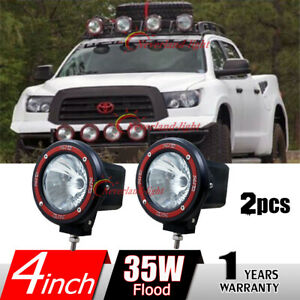 2x 4inch 35w 6000k Hid Xenon Work Light Flood For Offroad Truck Tractor Boat H3