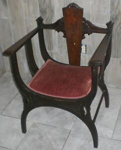 Antique Victorian Wood Throne Arm Chair W Inlay