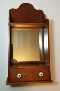 Primitive Vintage Folk Art Spice Shaving Cabinet Cherry With Drawer 17 5 Tall