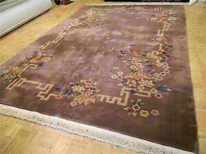 10x14 Chinese Rug Vintage Art Deco Nichols Authentic Hand Made Oriental Rug 1960