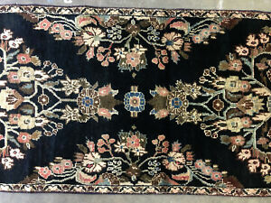 2x10 Black Antique Persian Runner Rug Wool Hand Knotted Sarouk Rugs Pink 3x10 Ft