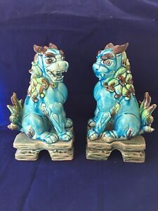 Pair Vintage Chinese Export Turquoise Blue Glazed Ceramic Foo Dog Sculptures