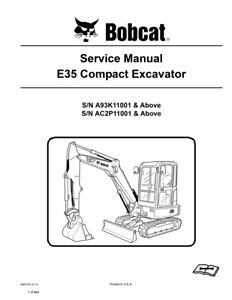 Bobcat E35 Compact Excavator Updated 2010 Edition Repair Service Manual 6987276