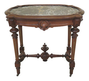 F30755ec Antique Victorian Marble Top Walnut Parlor Table