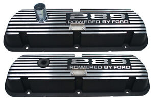 New Valve Covers 289 Powered By Ford Black Aluminum Fairlane Galaxie Mustang