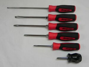 Snap On 6 Piece Red Black Combination Screwdriver Set Lot747