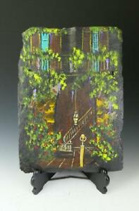 French Quarter Scene Hand Painting By M Chapoton On 100 200 Yrs Old Slate Tile