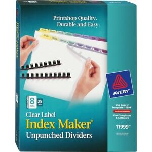Avery reg Print Apply Clear Label Unpunched Dividers Index Maker r Easy App