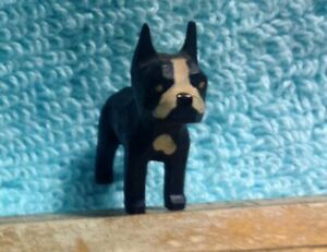 Vintage Folk Art Hand Carved Wooden Boston Terrier Private Collection