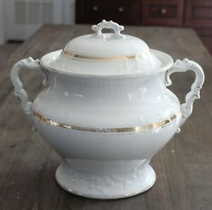 Antique Large Double Handle Semi Porcelain Chamber Pot W M Co