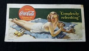 VINTAGE COCA COLA GIRL ON BEACH 1942  INK BLOTTER COLLECTIBLE FREE SHIPPING!!