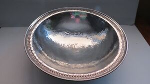 Sterling Arts Crafts Hand Wrought Hammered Serving Bowl Meriden Brittania