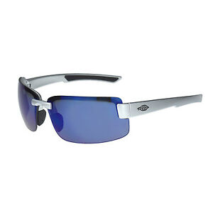 Crossfire By Radians 442208 Es6 Safety Glasses Silver Gloss W blue Mirror Lens