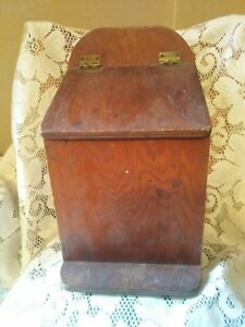 Antique Slant Lid Wall Candle Spice Match Box Primitive Style Wooden Storage