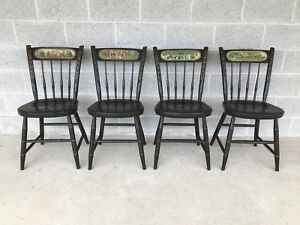 Nichols Stone Set Of 4 Ebonized Bicentennial Arrow Back Windsor Side Chairs