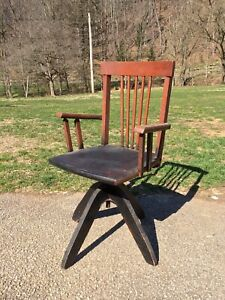 Antique Victorian Small Child S Wood Adjustable Swivel Desk Office Chair
